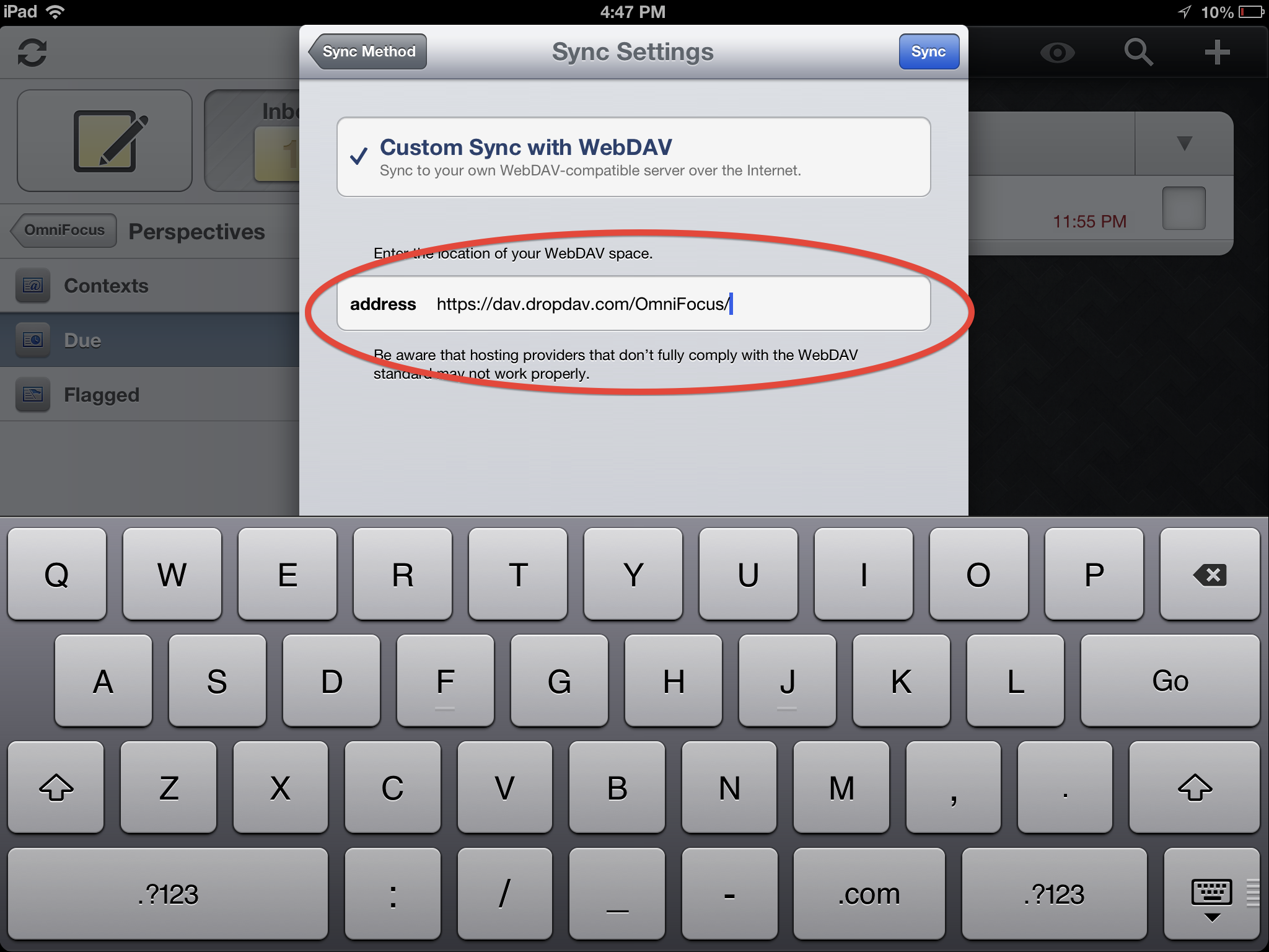 How to Set Up WebDav with Omnifocus on iPad - DropDAV - The
